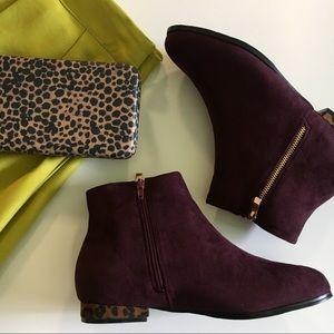 Shoes - Faux suede leopard detail booties